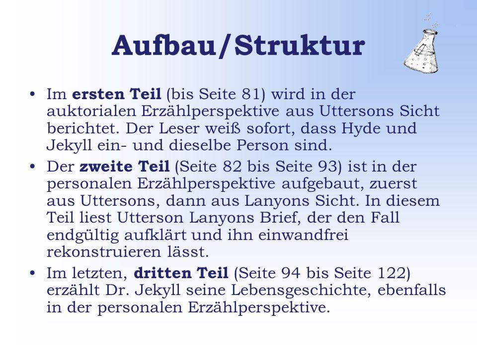 Aufbau/Struktur Im ersten Teil (bis Seite 81) wird in der auktorialen Erzählperspektive aus Uttersons Sicht berichtet.