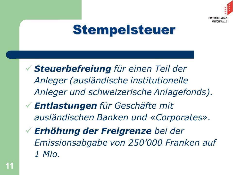 11 Steuerbefreiung für einen Teil der Anleger (ausländische institutionelle Anleger und schweizerische Anlagefonds). Entlastungen für Geschäfte mit au