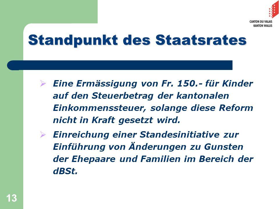 13 Standpunkt des Staatsrates Eine Ermässigung von Fr. 150.- für Kinder auf den Steuerbetrag der kantonalen Einkommenssteuer, solange diese Reform nic