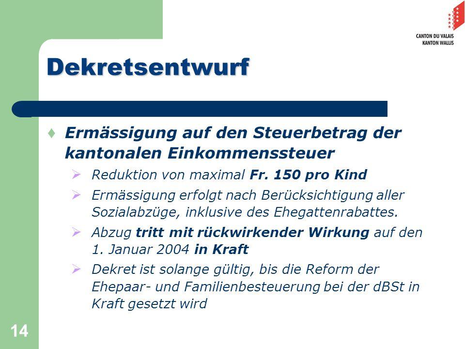 14 Dekretsentwurf Ermässigung auf den Steuerbetrag der kantonalen Einkommenssteuer Reduktion von maximal Fr. 150 pro Kind Ermässigung erfolgt nach Ber