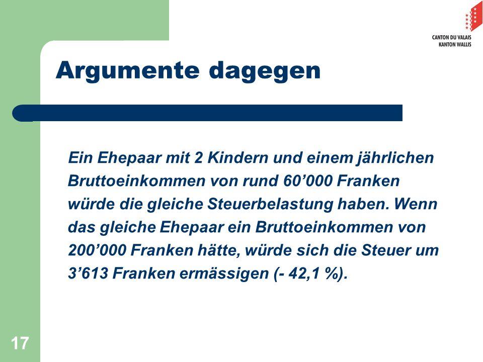 17 Argumente dagegen Ein Ehepaar mit 2 Kindern und einem jährlichen Bruttoeinkommen von rund 60000 Franken würde die gleiche Steuerbelastung haben. We