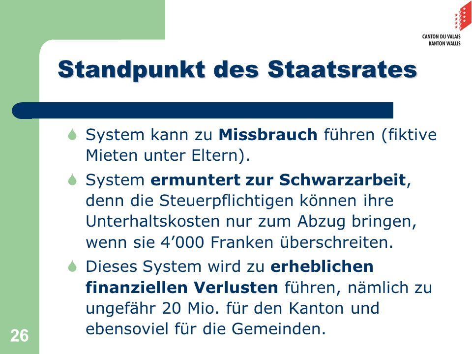 26 Standpunkt des Staatsrates System kann zu Missbrauch führen (fiktive Mieten unter Eltern). System ermuntert zur Schwarzarbeit, denn die Steuerpflic