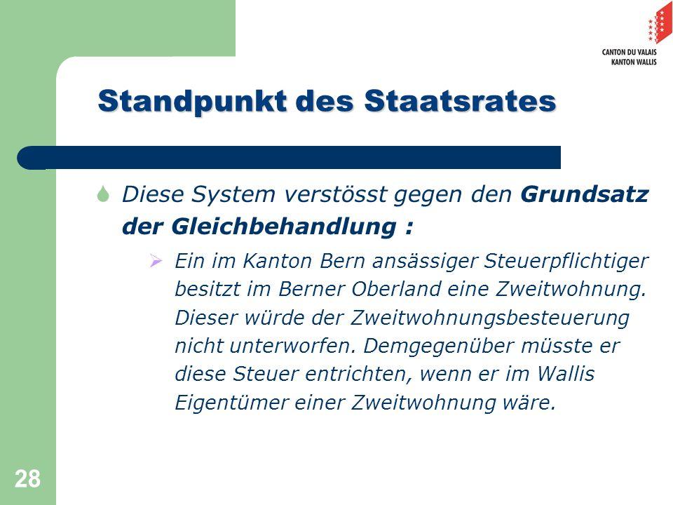 28 Standpunkt des Staatsrates Diese System verstösst gegen den Grundsatz der Gleichbehandlung : Ein im Kanton Bern ansässiger Steuerpflichtiger besitz