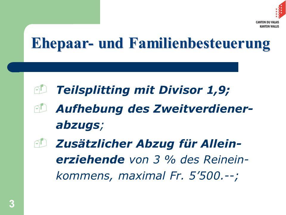 14 Dekretsentwurf Ermässigung auf den Steuerbetrag der kantonalen Einkommenssteuer Reduktion von maximal Fr.