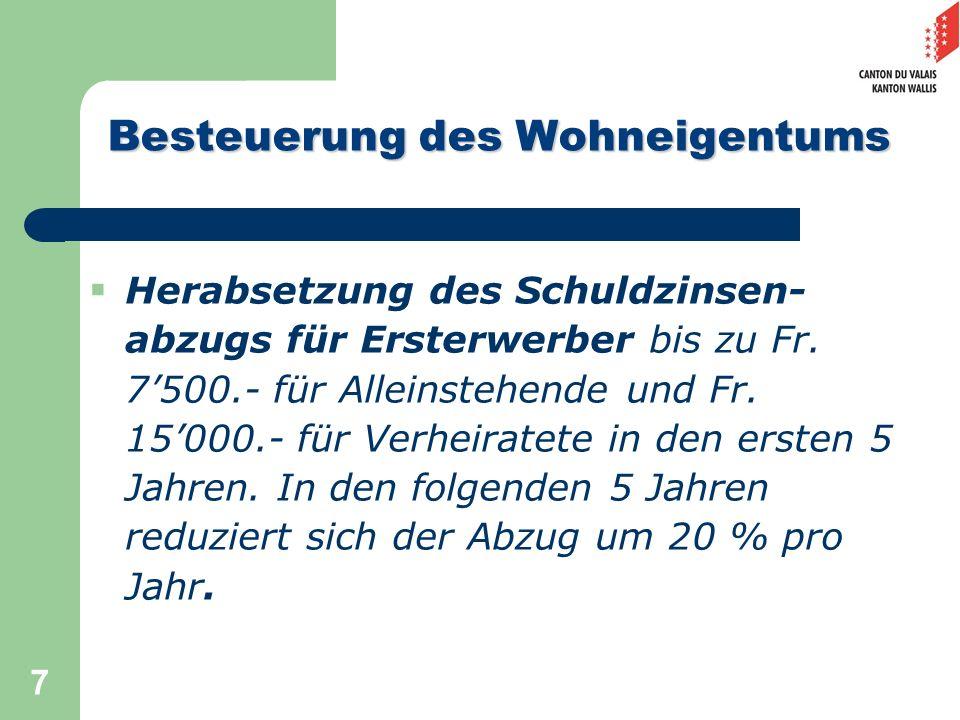 7 Herabsetzung des Schuldzinsen- abzugs für Ersterwerber bis zu Fr. 7500.- für Alleinstehende und Fr. 15000.- für Verheiratete in den ersten 5 Jahren.