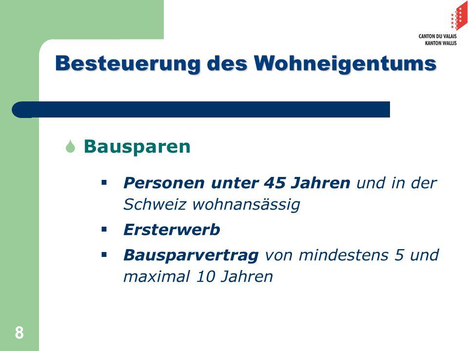 8 Bausparen Personen unter 45 Jahren und in der Schweiz wohnansässig Ersterwerb Bausparvertrag von mindestens 5 und maximal 10 Jahren Besteuerung des