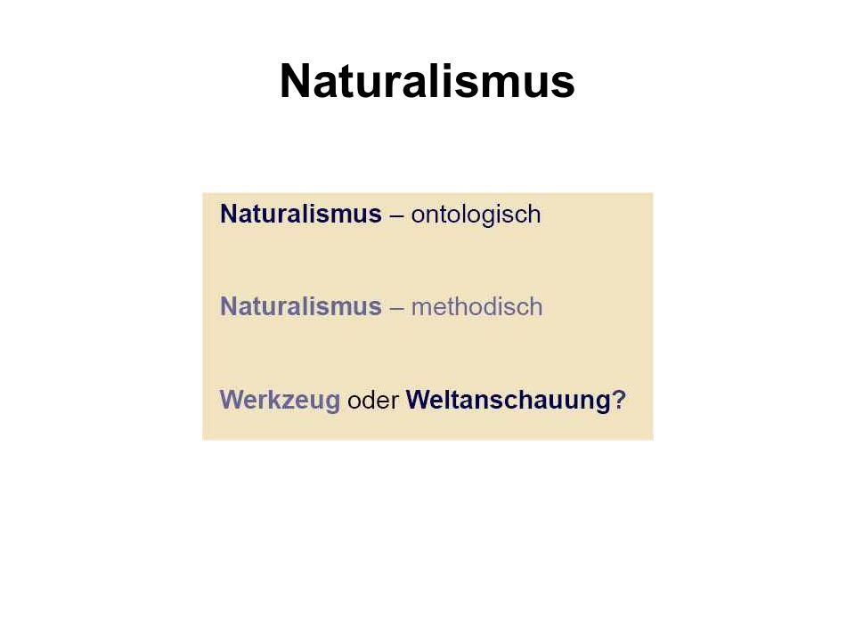 Methodischer Naturalismus Ziel: Methode: Ergebnis: Grenze: Intersubjektiv gültige Aussagen Empirie (hypothetico-deduktiv) (Natur)gesetze Systeme, die reproduzierbar mit uns wechselwirken Basis?
