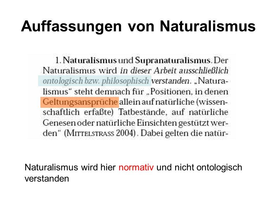 Auffassungen von Naturalismus Naturalismus wird hier normativ und nicht ontologisch verstanden