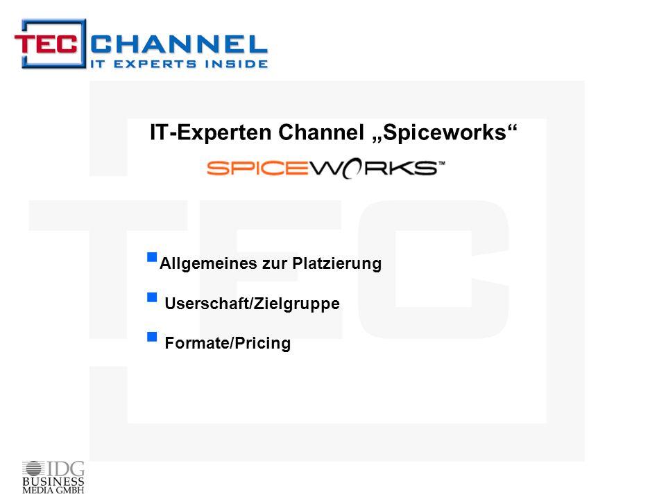 IT-Experten Channel Spiceworks Allgemeines zur Platzierung Userschaft/Zielgruppe Formate/Pricing