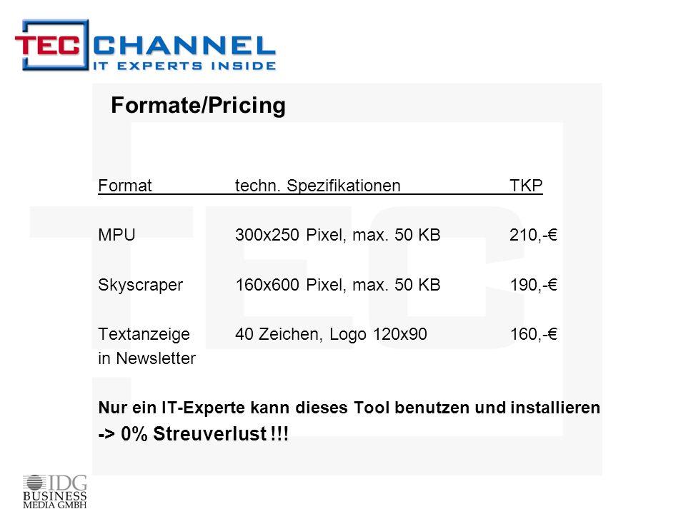 Formate/Pricing Format techn. SpezifikationenTKP MPU 300x250 Pixel, max.