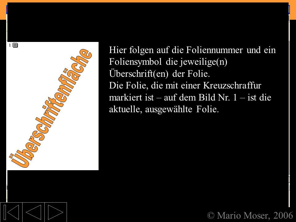 2. Der erste Eindruck Aufteilung des Bildschirms © Mario Moser, 2006 Aufteilung des Bildschirms Wenn Sie sich dann durch die beiden Fenster, die unter