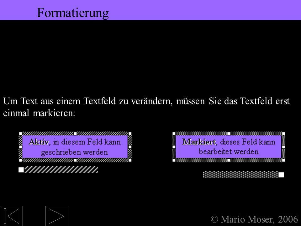 4. Einfügen (1) Textfeld © Mario Moser, 2006 Textfeld Text wird nicht wie bei z.B. Word einfach eingegeben – der Text gehört in ein Textfeld. Das geht
