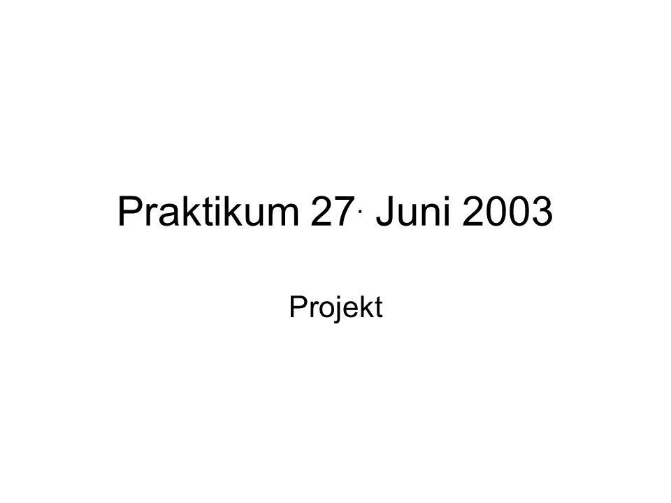Praktikum 27. Juni 2003 Projekt