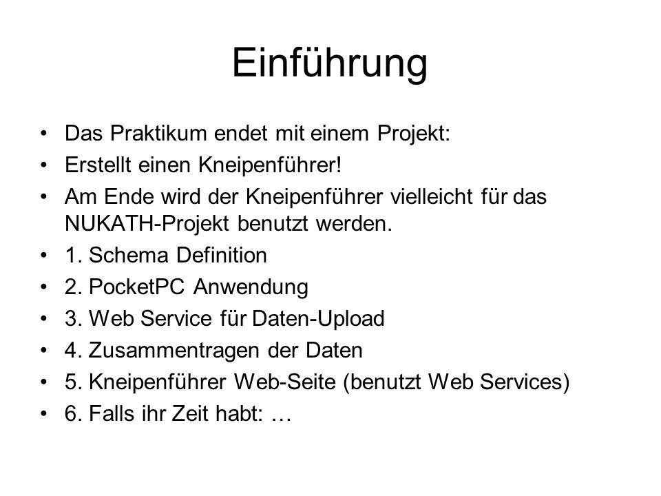 Web Service Um Daten zu laden –Weil iPAQ nicht direkt in der Lage ist, Web Services zu benutzen, kann es nur auf standard HTTP – POST und GET zurückgreifen.
