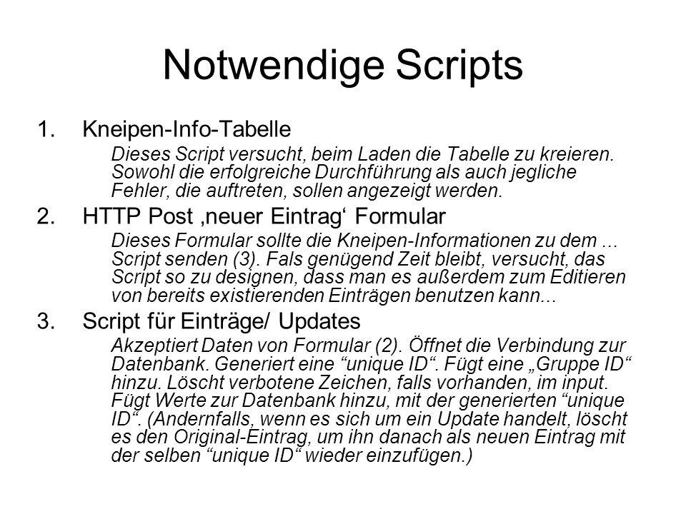 Notwendige Scripts 1.Kneipen-Info-Tabelle Dieses Script versucht, beim Laden die Tabelle zu kreieren. Sowohl die erfolgreiche Durchführung als auch je