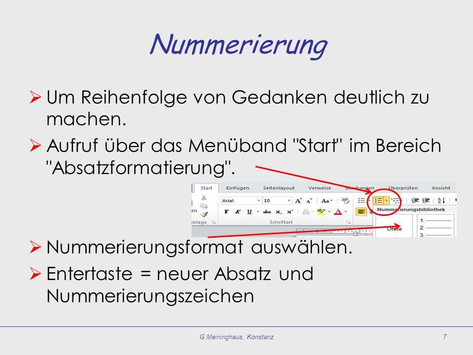 Formatierungen korrigieren Formatierung beauskunften: Markierungen im Menüband Start beachten.