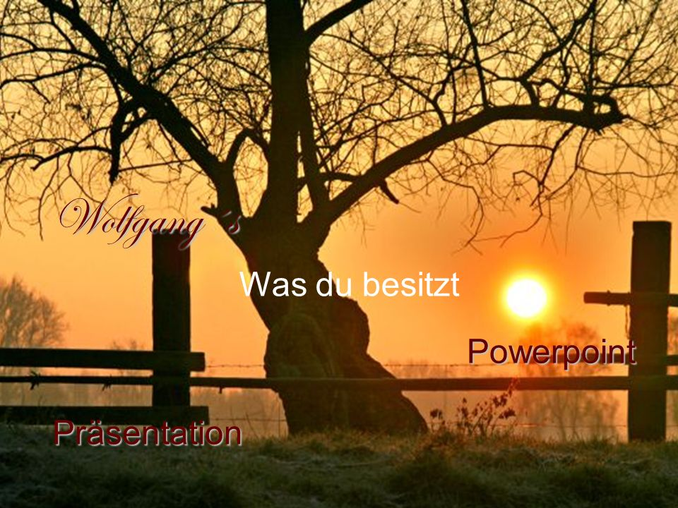 Wolfgang´s Powerpoint Präsentation Powerpoint Präsentation Was du besitzt