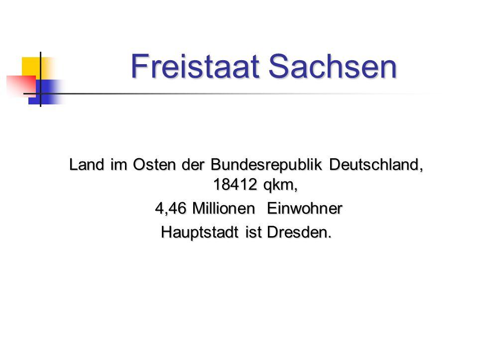 Freistaat Sachsen Land im Osten der Bundesrepublik Deutschland, 18412 qkm, 4,46 Millionen Einwohner 4,46 Millionen Einwohner Hauptstadt ist Dresden.