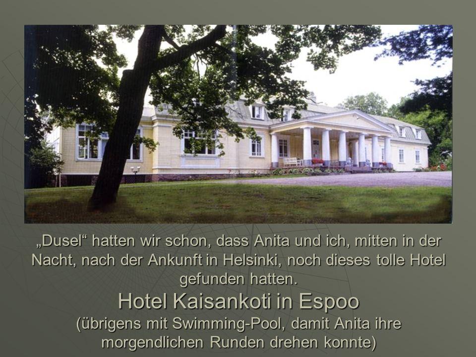 Dusel hatten wir schon, dass Anita und ich, mitten in der Nacht, nach der Ankunft in Helsinki, noch dieses tolle Hotel gefunden hatten. Hotel Kaisanko