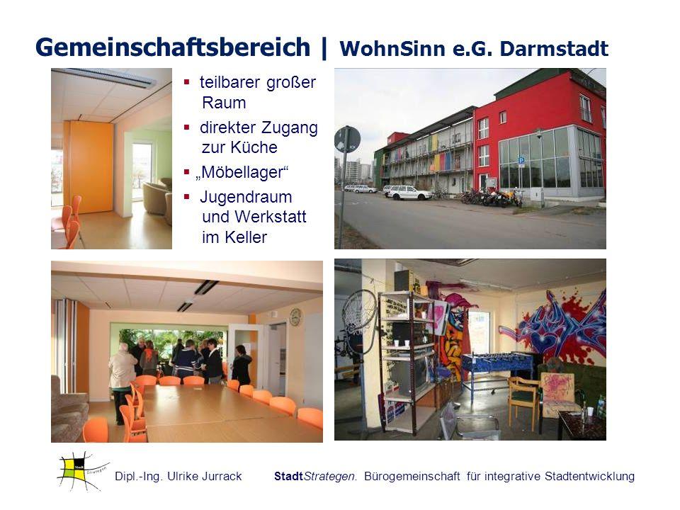 Dipl.-Ing. Ulrike Jurrack StadtStrategen. Bürogemeinschaft für integrative Stadtentwicklung Gemeinschaftsbereich | WohnSinn e.G. Darmstadt teilbarer g