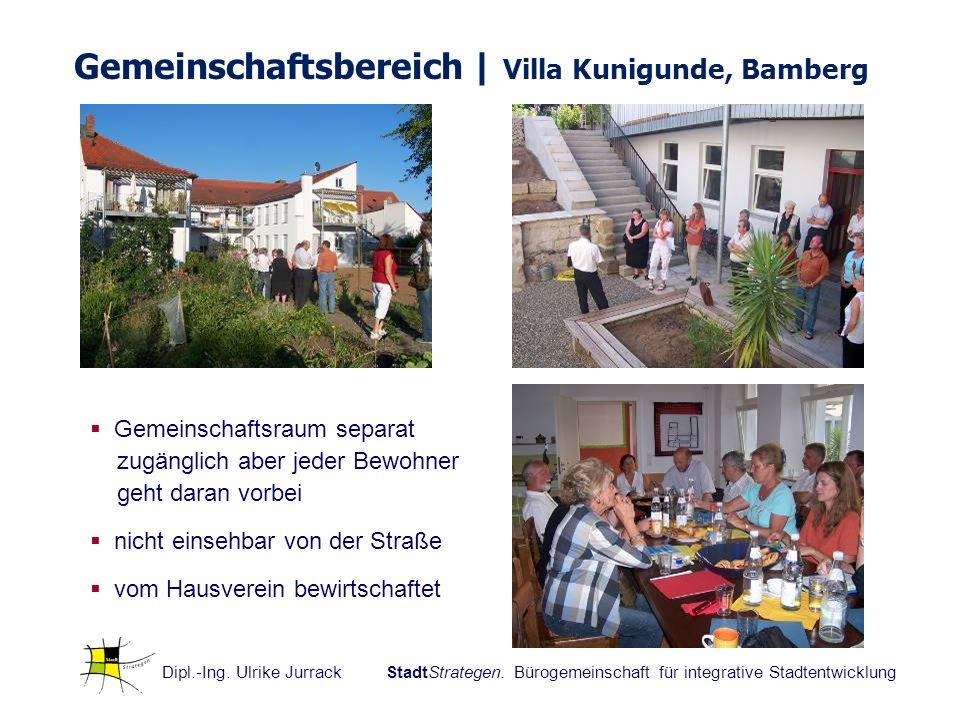 Dipl.-Ing. Ulrike Jurrack StadtStrategen. Bürogemeinschaft für integrative Stadtentwicklung Gemeinschaftsbereich | Villa Kunigunde, Bamberg Gemeinscha