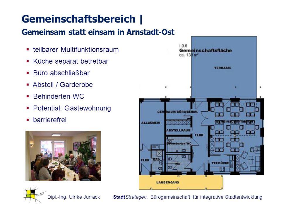 Dipl.-Ing. Ulrike Jurrack StadtStrategen. Bürogemeinschaft für integrative Stadtentwicklung Gemeinschaftsbereich | Gemeinsam statt einsam in Arnstadt-