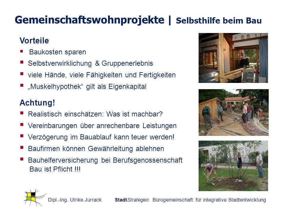 Dipl.-Ing. Ulrike Jurrack StadtStrategen. Bürogemeinschaft für integrative Stadtentwicklung Vorteile Baukosten sparen Selbstverwirklichung & Gruppener