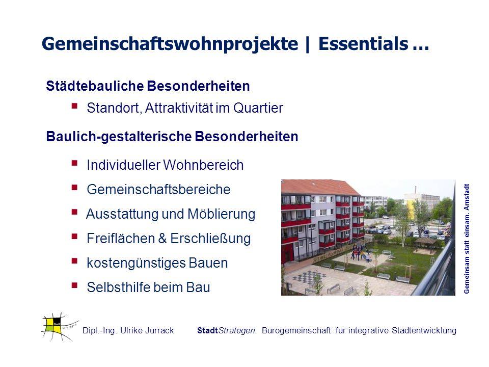 Gemeinschaftswohnprojekte | Essentials … Städtebauliche Besonderheiten Standort, Attraktivität im Quartier Baulich-gestalterische Besonderheiten Indiv
