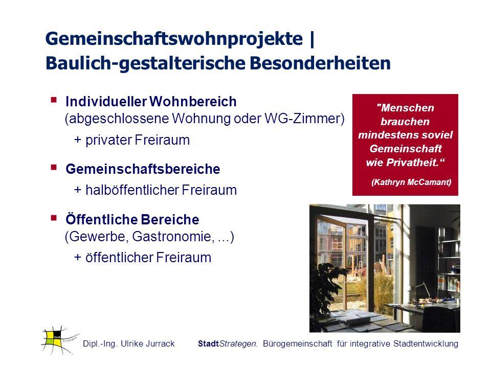 Dipl.-Ing. Ulrike Jurrack StadtStrategen. Bürogemeinschaft für integrative Stadtentwicklung Individueller Wohnbereich (abgeschlossene Wohnung oder WG-
