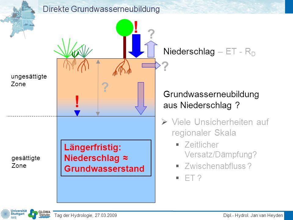Tag der Hydrologie, 27.03.2009 Dipl.- Hydrol. Jan van Heyden Direkte Grundwasserneubildung gesättigte Zone ungesättigte Zone Niederschlag – ET - R D G