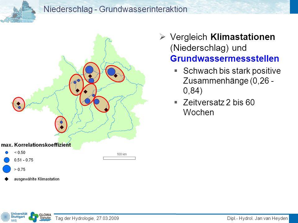Tag der Hydrologie, 27.03.2009 Dipl.- Hydrol. Jan van Heyden Niederschlag - Grundwasserinteraktion Vergleich Klimastationen (Niederschlag) und Grundwa