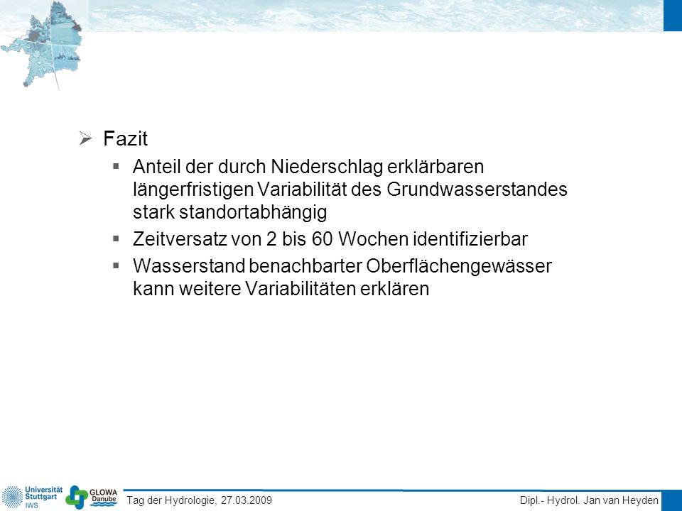 Tag der Hydrologie, 27.03.2009 Dipl.- Hydrol. Jan van Heyden Fazit Anteil der durch Niederschlag erklärbaren längerfristigen Variabilität des Grundwas