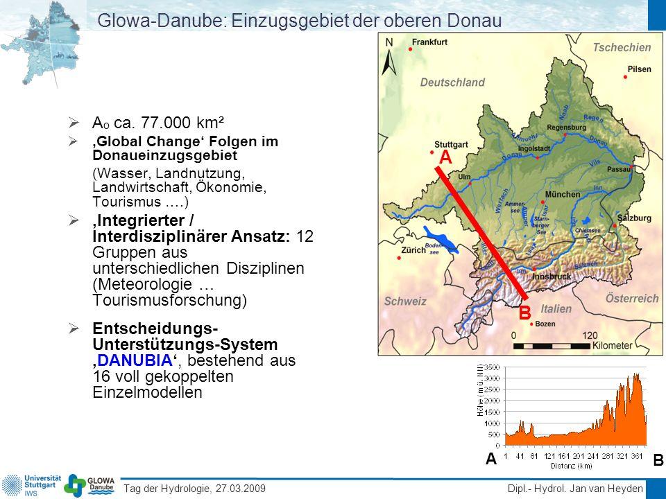 Tag der Hydrologie, 27.03.2009 Dipl.- Hydrol. Jan van Heyden Glowa-Danube: Einzugsgebiet der oberen Donau A o ca. 77.000 km² Global Change Folgen im D