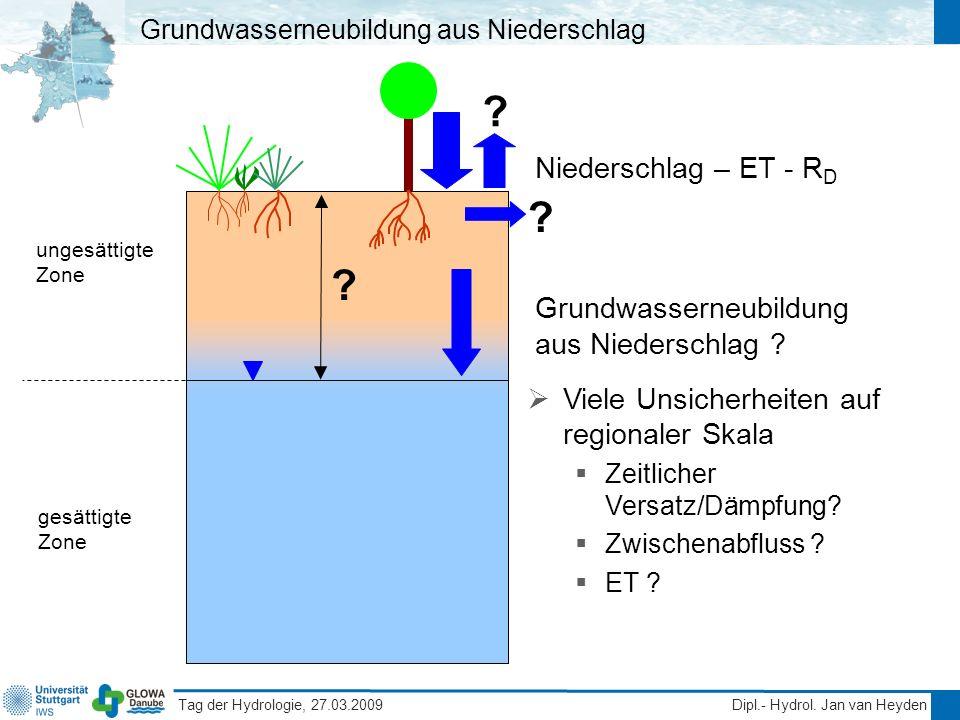 Tag der Hydrologie, 27.03.2009 Dipl.- Hydrol. Jan van Heyden Grundwasserneubildung aus Niederschlag gesättigte Zone ungesättigte Zone Niederschlag – E
