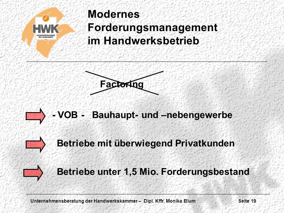 Unternehmensberatung der Handwerkskammer – Dipl. Kffr. Monika Blum Seite 19 Modernes Forderungsmanagement im Handwerksbetrieb - VOB - Bauhaupt- und –n