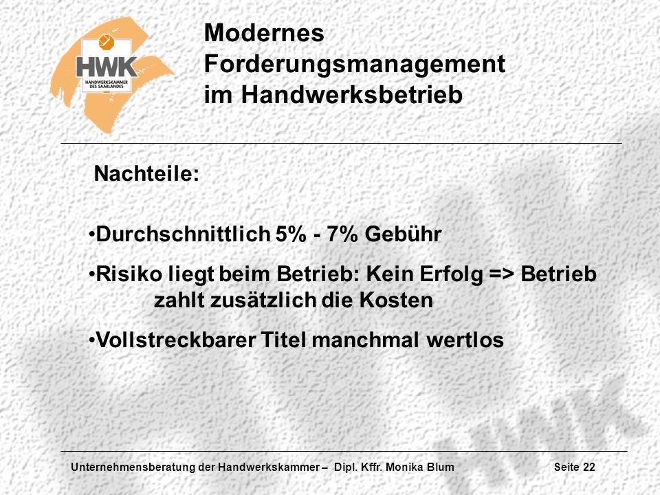 Unternehmensberatung der Handwerkskammer – Dipl. Kffr. Monika Blum Seite 22 Modernes Forderungsmanagement im Handwerksbetrieb Nachteile: Durchschnittl