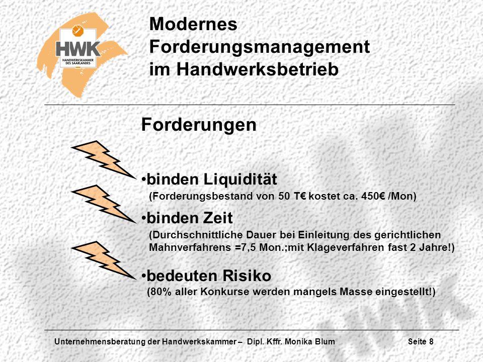 Unternehmensberatung der Handwerkskammer – Dipl. Kffr. Monika Blum Seite 8 Modernes Forderungsmanagement im Handwerksbetrieb Forderungen binden Liquid