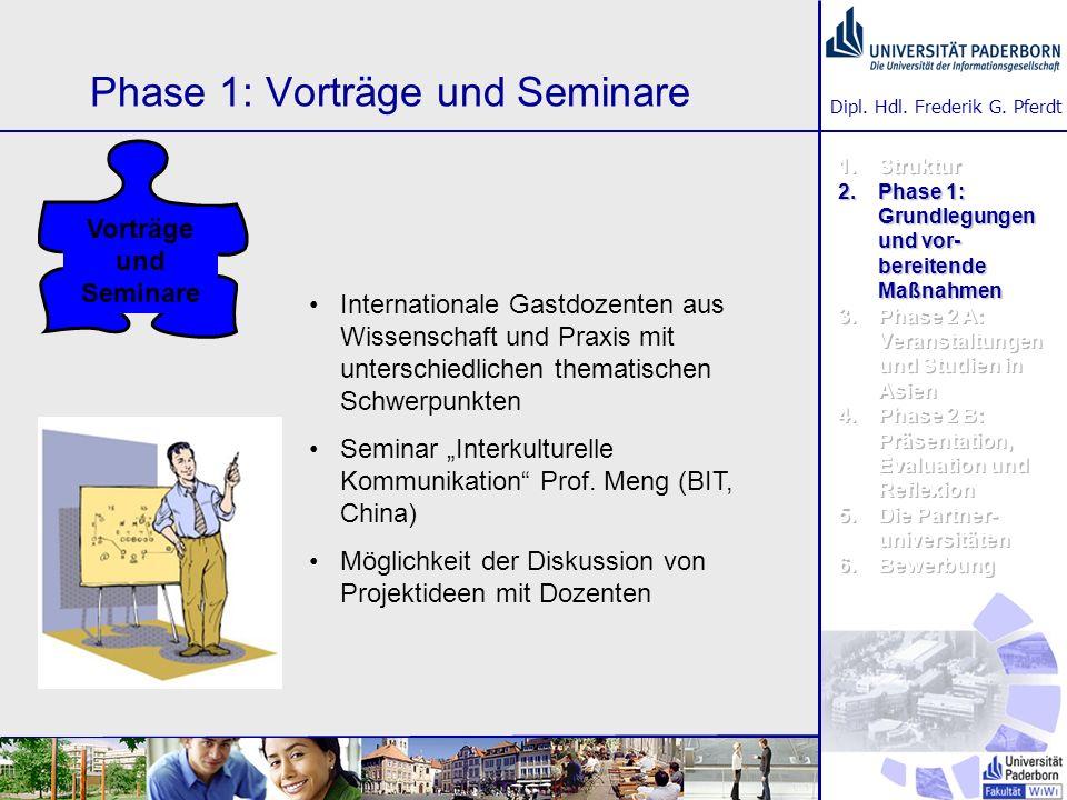 Dipl. Hdl. Frederik G. Pferdt Phase 1: Vorträge und Seminare Internationale Gastdozenten aus Wissenschaft und Praxis mit unterschiedlichen thematische