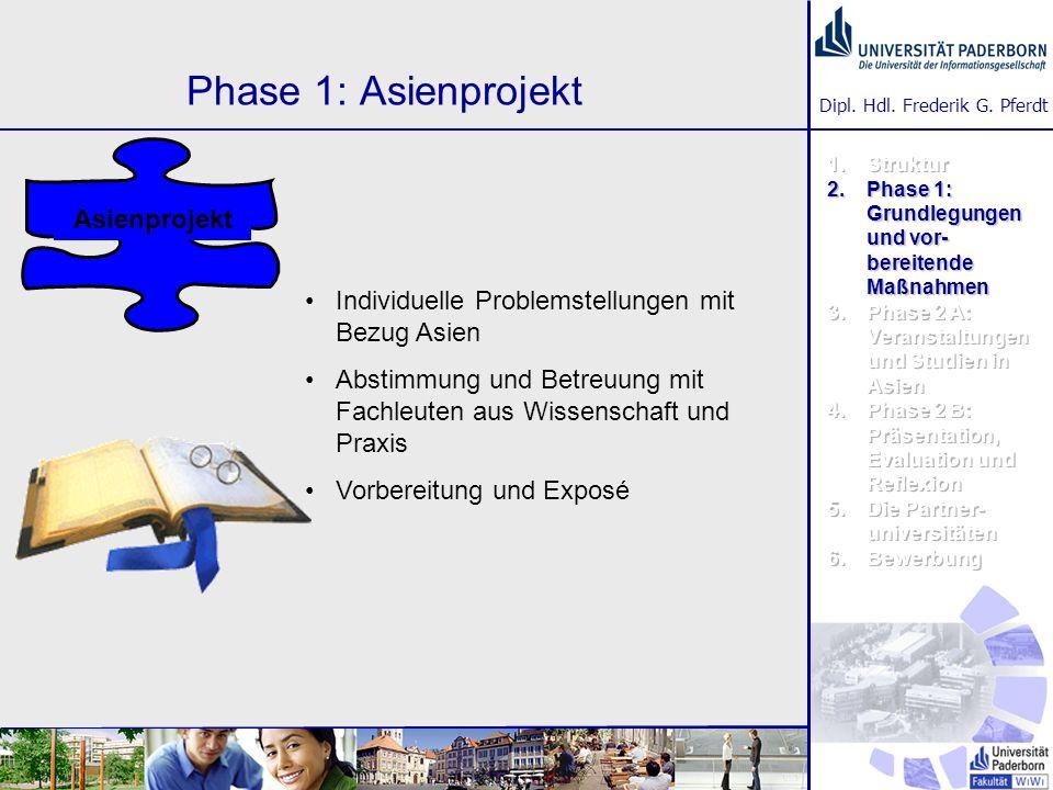 Dipl. Hdl. Frederik G. Pferdt Phase 1: Asienprojekt Individuelle Problemstellungen mit Bezug Asien Abstimmung und Betreuung mit Fachleuten aus Wissens