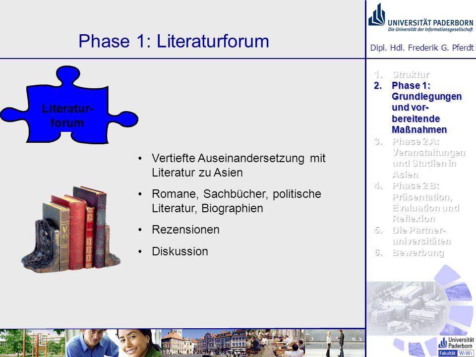 Dipl. Hdl. Frederik G. Pferdt Phase 1: Literaturforum Vertiefte Auseinandersetzung mit Literatur zu Asien Romane, Sachbücher, politische Literatur, Bi