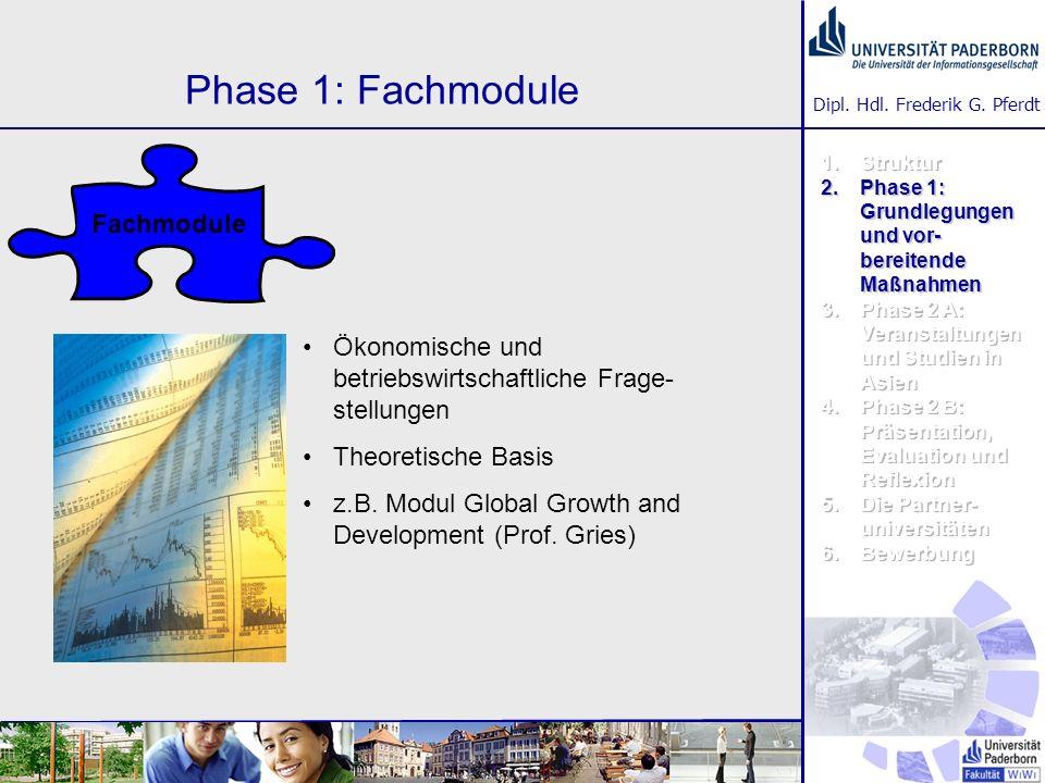 Dipl. Hdl. Frederik G. Pferdt Phase 1: Fachmodule Ökonomische und betriebswirtschaftliche Frage- stellungen Theoretische Basis z.B. Modul Global Growt