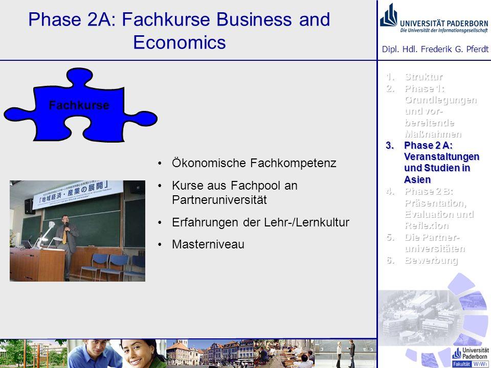 Dipl. Hdl. Frederik G. Pferdt Phase 2A: Fachkurse Business and Economics Ökonomische Fachkompetenz Kurse aus Fachpool an Partneruniversität Erfahrunge