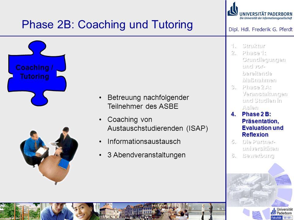Dipl. Hdl. Frederik G. Pferdt Phase 2B: Coaching und Tutoring Betreuung nachfolgender Teilnehmer des ASBE Coaching von Austauschstudierenden (ISAP) In