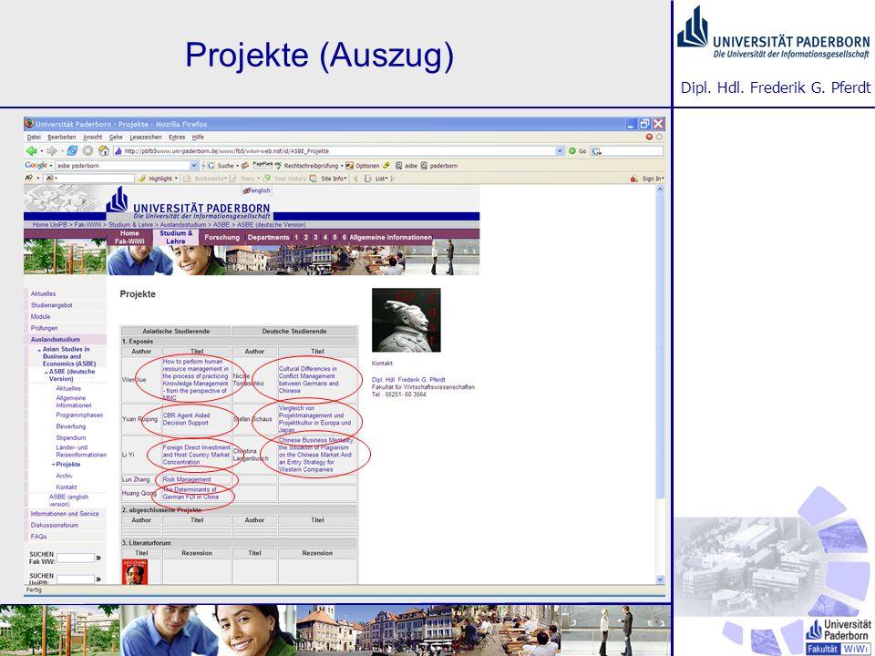 Dipl. Hdl. Frederik G. Pferdt Projekte (Auszug)