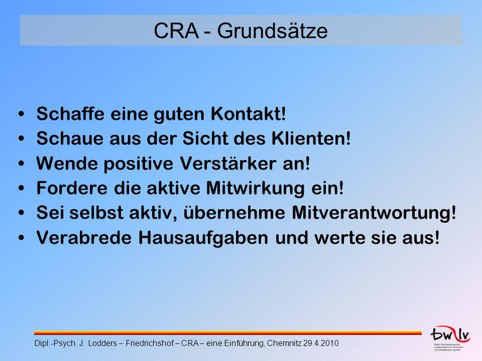 CRA - Grundsätze Schaffe eine guten Kontakt! Schaue aus der Sicht des Klienten! Wende positive Verstärker an! Fordere die aktive Mitwirkung ein! Sei s