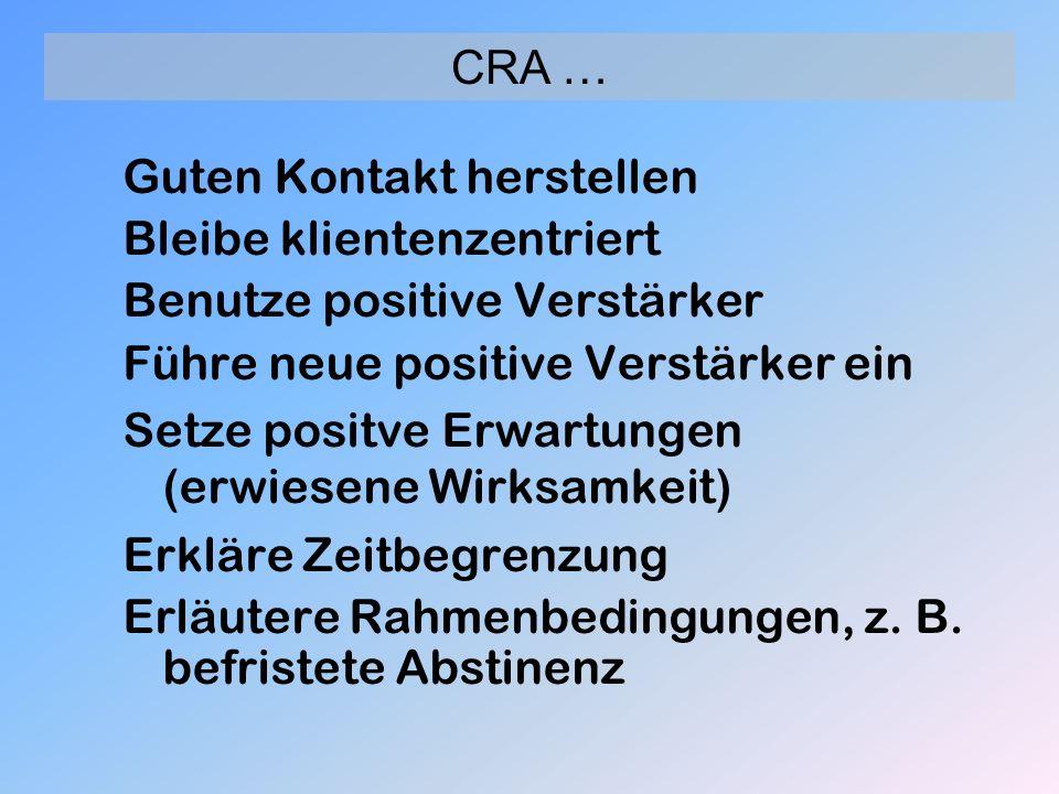 Guten Kontakt herstellen Bleibe klientenzentriert Benutze positive Verstärker Führe neue positive Verstärker ein Setze positve Erwartungen (erwiesene