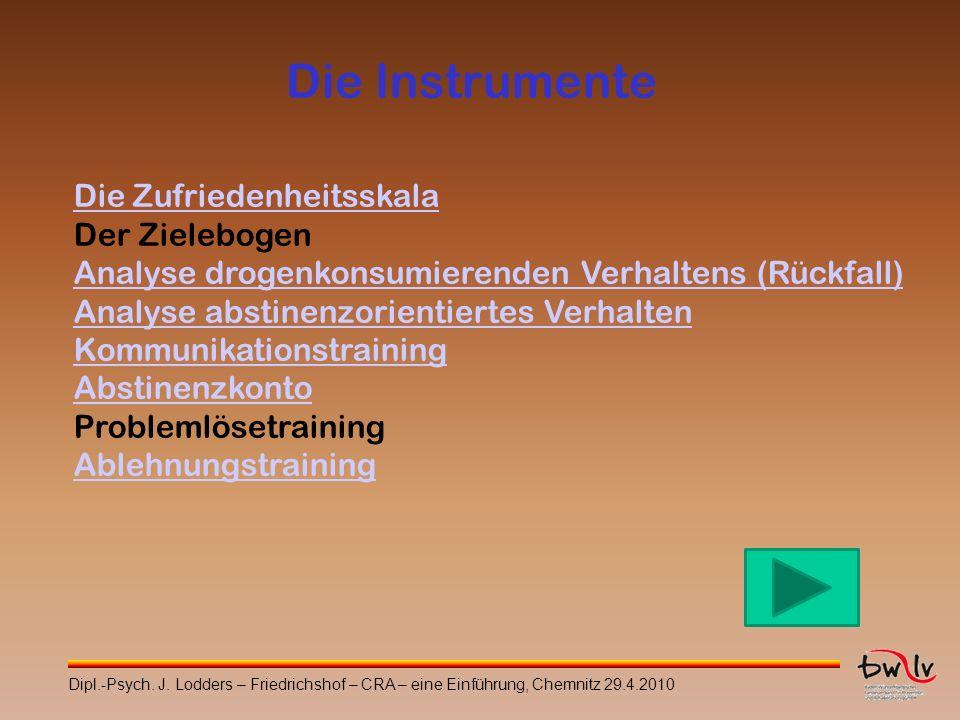 Die Instrumente Die Zufriedenheitsskala Der Zielebogen Analyse drogenkonsumierenden Verhaltens (Rückfall) Analyse abstinenzorientiertes Verhalten Komm