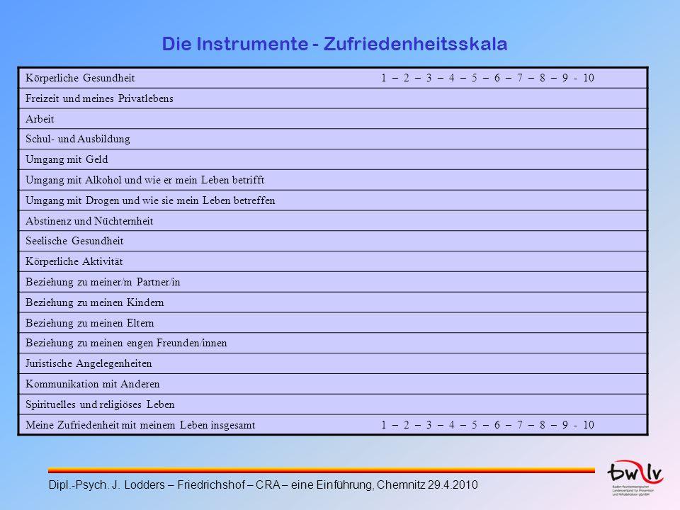 Die Instrumente - Zufriedenheitsskala Körperliche Gesundheit 1 – 2 – 3 – 4 – 5 – 6 – 7 – 8 – 9 - 10 Freizeit und meines Privatlebens Arbeit Schul- und