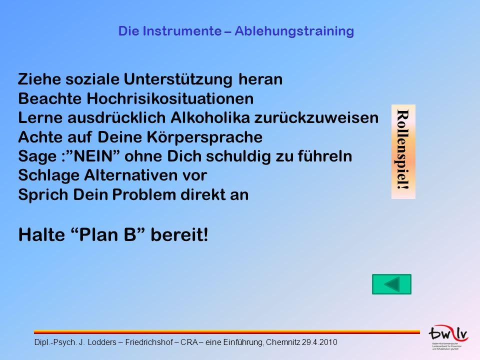 Die Instrumente – Ablehungstraining Ziehe soziale Unterstützung heran Beachte Hochrisikosituationen Lerne ausdrücklich Alkoholika zurückzuweisen Achte