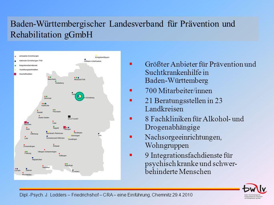 Größter Anbieter für Prävention und Suchtkrankenhilfe in Baden-Württemberg 700 Mitarbeiter/innen 21 Beratungsstellen in 23 Landkreisen 8 Fachkliniken